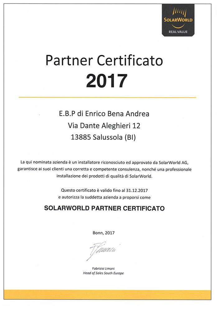 solar world partner certificato